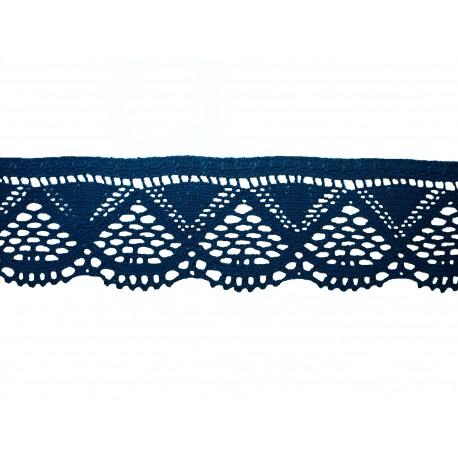 Bavlněná paličkovaná krajka 2033/55mm tm.modrá/5m
