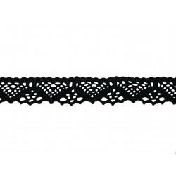 Bavlněná paličkovaná krajka 2031/25mm černá/5m