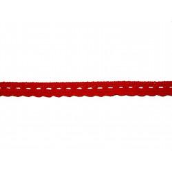 Bavlněná paličkovaná krajka2005/10mm červená/5m