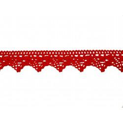 Bavlněná paličkovaná krajka2024/30mm červená/5m