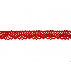 Bavlněná paličkovaná krajka2031/25mm červená/5m