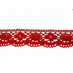 Bavlněná paličkovaná krajka2048/50mm červená/5m