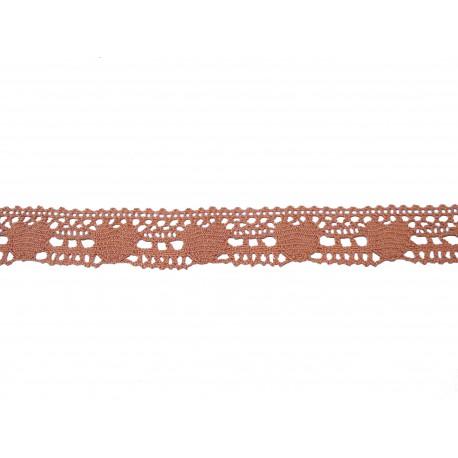 Bvlněná paličkovaná krajka 2034/25mm  starorůžová/5m