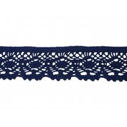 Bavlněná paličkovaná krajka 2017/45mm tm.modrá/5m