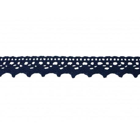 Bavlněná paličkovaná krajka 2029/20mm tm.modrá/5m