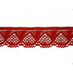 Bavlněná paličkovaná krajka 2033/55mm červená/5m