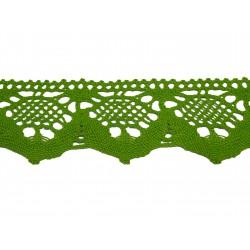 Bavlněná paličkovaná krajka 2051/50mm jarní zelená/5m