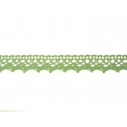 Bavlněná  paličkovaná krajka 2029/20mm sv.zelená/5m