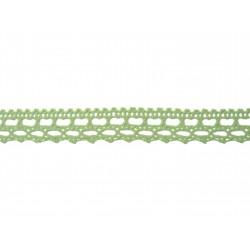 Bavlněná paličkovaná krajka 2072/15mm sv.zelená/5m