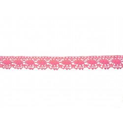 Bavlněná paličkovaná krajka2049/22mm růžová/5m