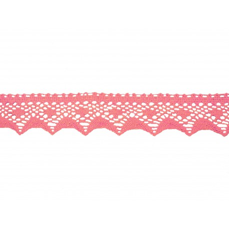 Bavlněná paličkovaná krajka2070/40mm růžová/5m