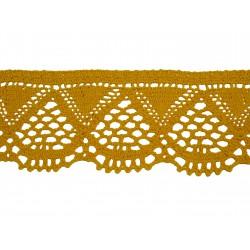Bavlněná paličkovaná krajka 2033/55mm tmavě žlutá/5m