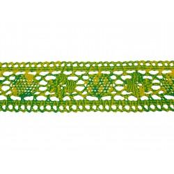 Bavlněná paličkovaná krajka 3059/50mm zelenožlutá/5m