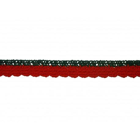 Bavlněná paličkovaná krajka 2005/10mm zeleno-červená/5m