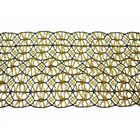 Bavlněná paličkovaná krajka vsadka 100mm černo-zlatá/5m