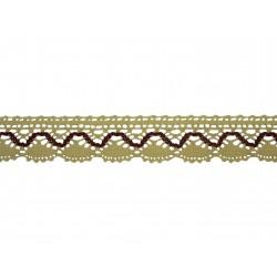 Bavlněná paličkovaná krajka 2001/25mm ecru-bordo/5m