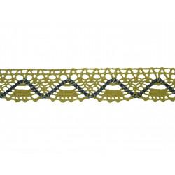 Bavlněná paličkovaná krajka 2023/30mm ecru-modrofialová/5m