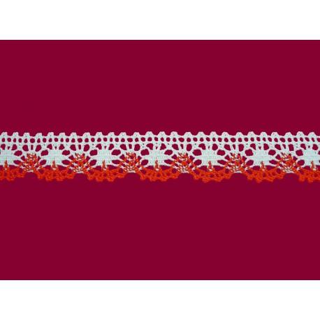 Bavlněná paličkovaná krajka 2022/25mm bíločervená/5m