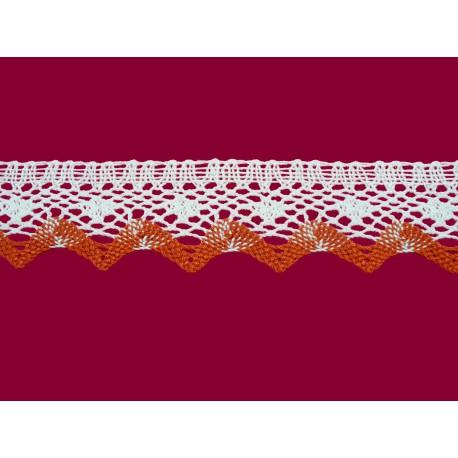 Bavlněná paličkovaná  krajka 2070/40mm bílo-červená/5m