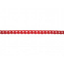 Bavlněná paličkovaná krajka 2074A/8mm červená/5m