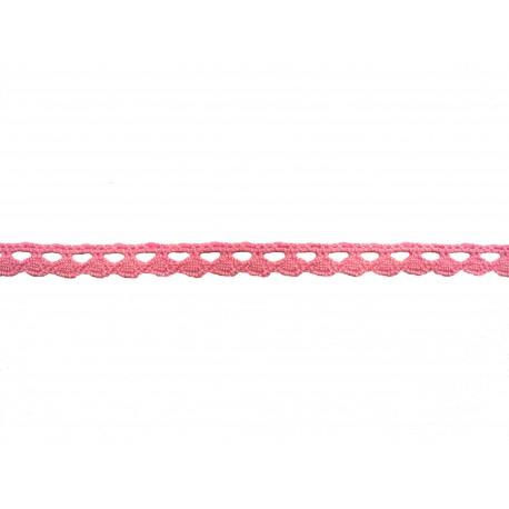 Bavlněná paličkovaná krajka 2074A/8mm růžová/5m